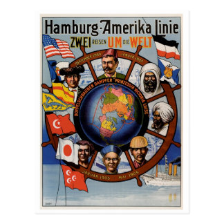 Ligne affiche de Hambourg Amerika Carte Postale