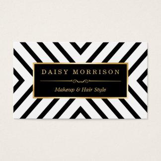 Ligne blanche motif de noir d'or de beauté de mode cartes de visite
