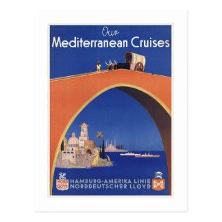 Ligne méditerranéenne voyage vintage de bateau de cartes postales
