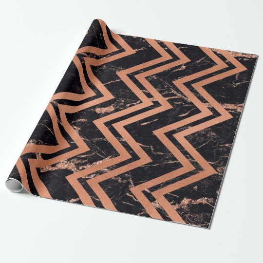 Ligne noire de Chevron d'or d'en cuivre de zigzag Papier Cadeau