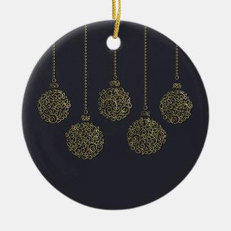 Ligne ornementale ornements d'or de Noël