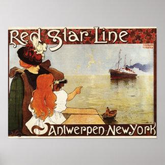 Ligne rouge croisières d'étoile à l'affiche de pro