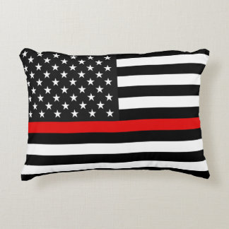 Ligne rouge mince drapeau américain coussins décoratifs