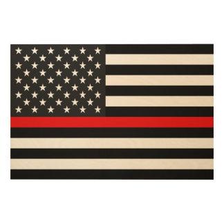 Ligne rouge mince drapeau américain impression sur bois