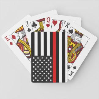 Ligne rouge mince drapeau américain jeu de cartes