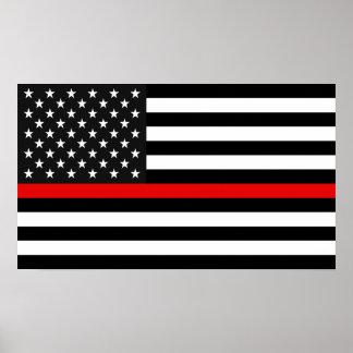 Ligne rouge mince drapeau américain poster