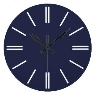 Lignes bleues et blanches de minuit horloge murale