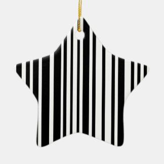 Lignes noires et blanches ornement étoile en céramique