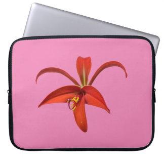 Lily Fleur de Lis Flower aztèque rouge au-dessus Housse Pour Ordinateur Portable