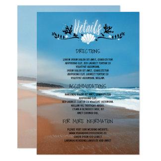 L'information de détails de mariage de plage - carton d'invitation  11,43 cm x 15,87 cm