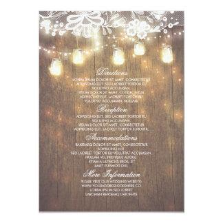L'information rustique de mariage de dentelle de carton d'invitation  11,43 cm x 15,87 cm