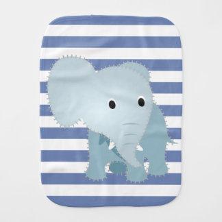 Linge De Bébé Éléphant bleu piqué par Faux sur les rayures