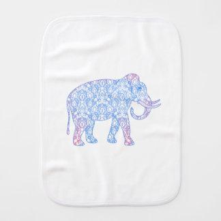 Linge De Bébé Éléphant rose et bleu de damassé