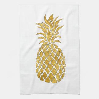 Linge De Cuisine ananas de regard de feuille d'or