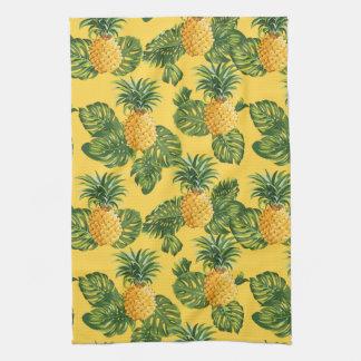 Linge De Cuisine Ananas et feuille tropical sur l'or