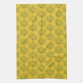 Linge De Cuisine Art de jaune de moutarde de motif de feuille