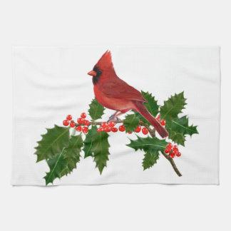Linge De Cuisine Cardinal sur une feuille de houx