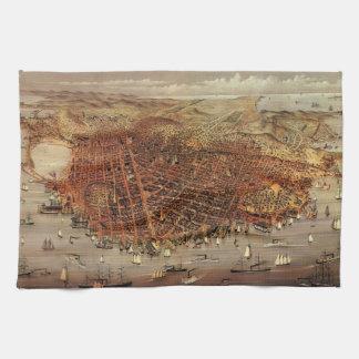 Linge De Cuisine Carte aérienne antique de San Francisco, la