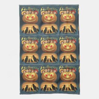 Linge De Cuisine Chats vintages bleus Jack O'Lantern de Halloween