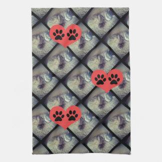 Linge De Cuisine Collage de chat avec des empreintes de pattes par