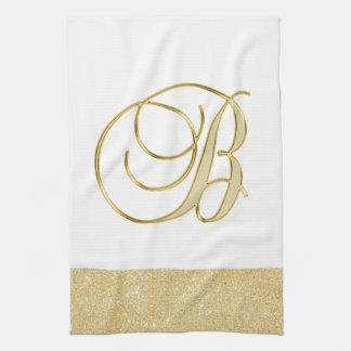 Linge De Cuisine Cuisine blanche de couleur de scintillement d'or