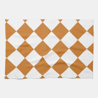 Linge De Cuisine Diag Checkered - blanc et ocre