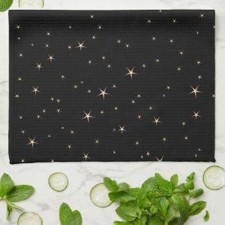 Linge De Cuisine Étoiles fascinantes d'or sur l'arrière - plan noir
