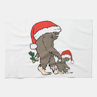 Linge De Cuisine Famille de Bigfoot de Noël