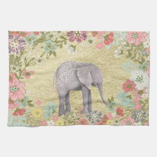 Linge De Cuisine Feuille d'or florale de cadre d'éléphant chic
