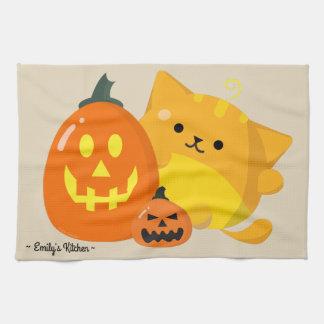 Linge De Cuisine Halloween personnalisable - chat de citrouille