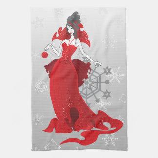 Linge De Cuisine Illustration grise rouge élégante de Noël de mode