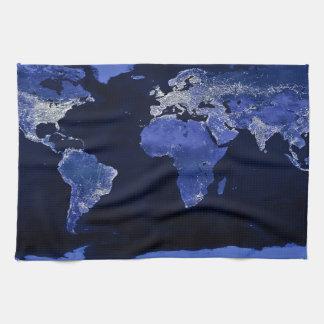 Linge De Cuisine Le monde la nuit - carte, l'espace