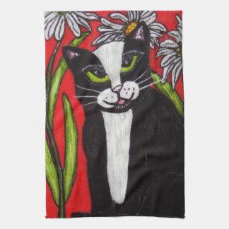 Linge De Cuisine Marguerites blanches de chat blanc noir de smoking