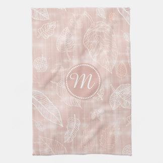 Linge De Cuisine Miroiter le monogramme rose ID288 d'or d'ensemble