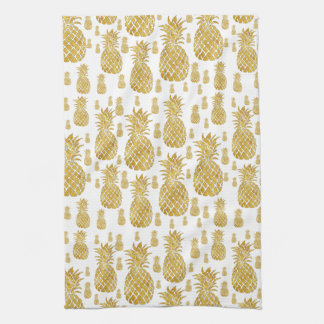 Linge De Cuisine motif d'ananas de regard de feuille d'or