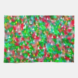 Linge De Cuisine Motif d'aquarelle d'arbre de Noël