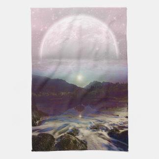 Linge De Cuisine Paysage crépusculaire de lac moon de jolie lavande