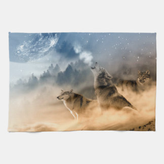Linge De Cuisine Paysage de nature de brouillard de lune de loups