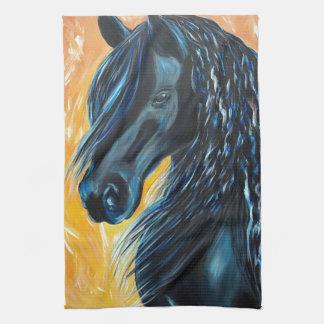 Linge De Cuisine Peinture noire de cheval