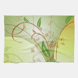 Linge De Cuisine Peinture verte de feuilles