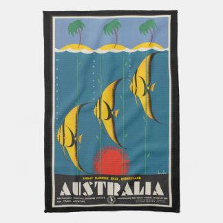 Linge De Cuisine Poissons vintages Queensland Australie de récif de