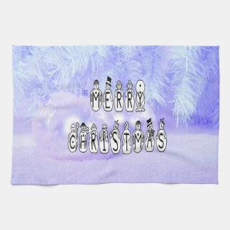 Linge De Cuisine Police de personnes de neige de Joyeux Noël, neige