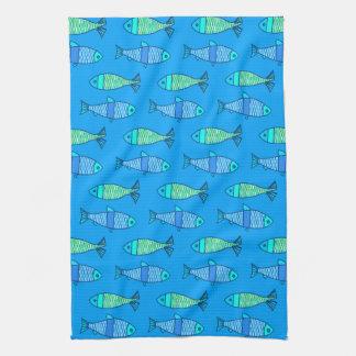 Linge De Cuisine Rétros poissons modernes, turquoise et bleu