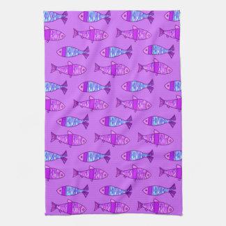 Linge De Cuisine Rétros poissons modernes, violette, et pourpre