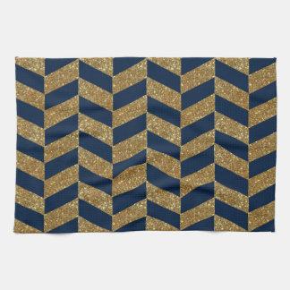 Linge De Cuisine Scintillement d'or et motif bleu-foncé de rayures