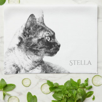 Linge De Cuisine Stella le chat gris