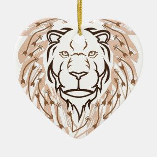 Lion de flèche ornement cœur en céramique