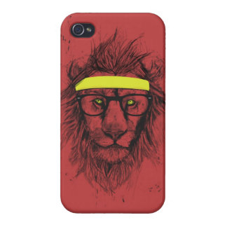 lion de hippie (rouge) coques iPhone 4/4S