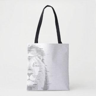 Lion de typographie tote bag