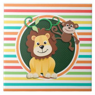 Lion et singe Rayures lumineuses d arc-en-ciel Carreaux